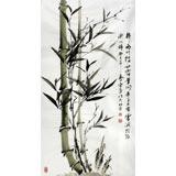 何华贤三尺国画《梢梢两竹枝》