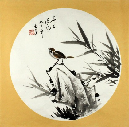 团扇竹子手绘图片