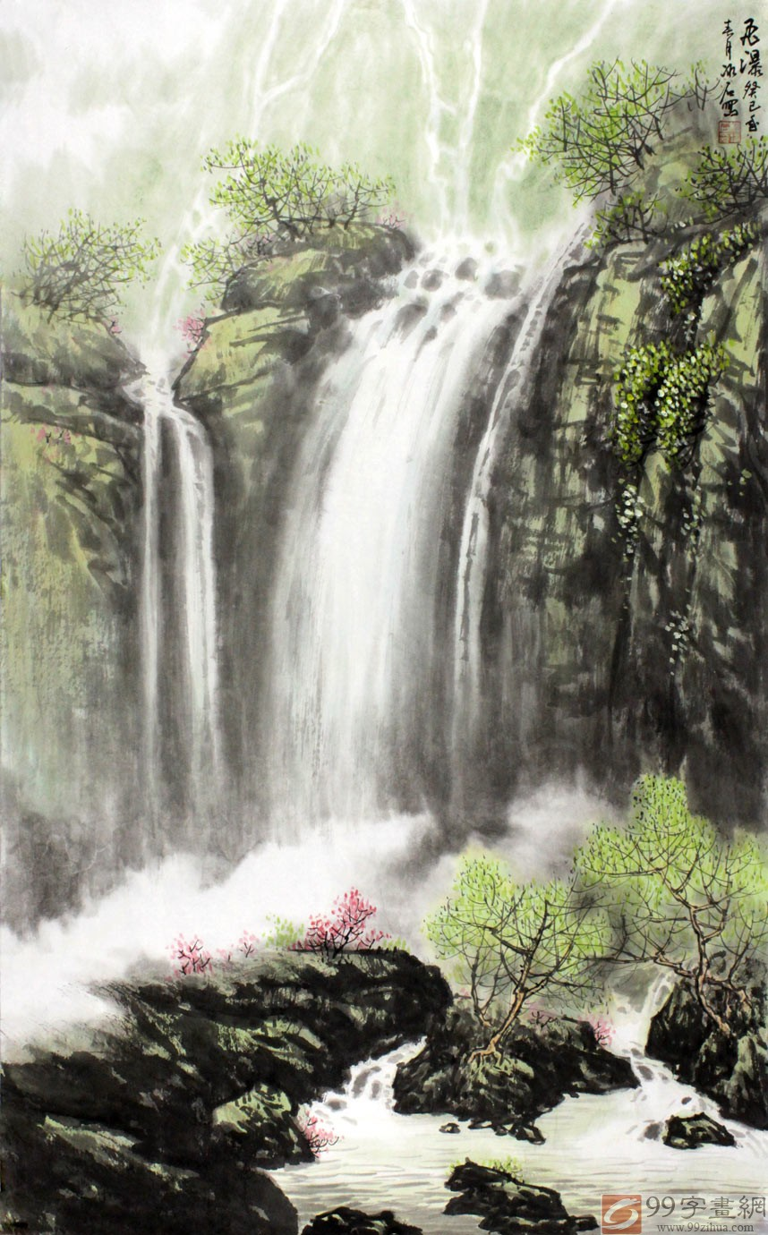 山水画家程冰石聚财瀑布图作品赏析;; 瀑布国画山水作品图片大全下载