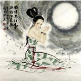 【已售】北京美协李凤英四尺斗方仕女《凝情思往事》