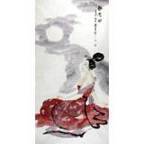 北京画院李凤英四尺仕女图《静思图》