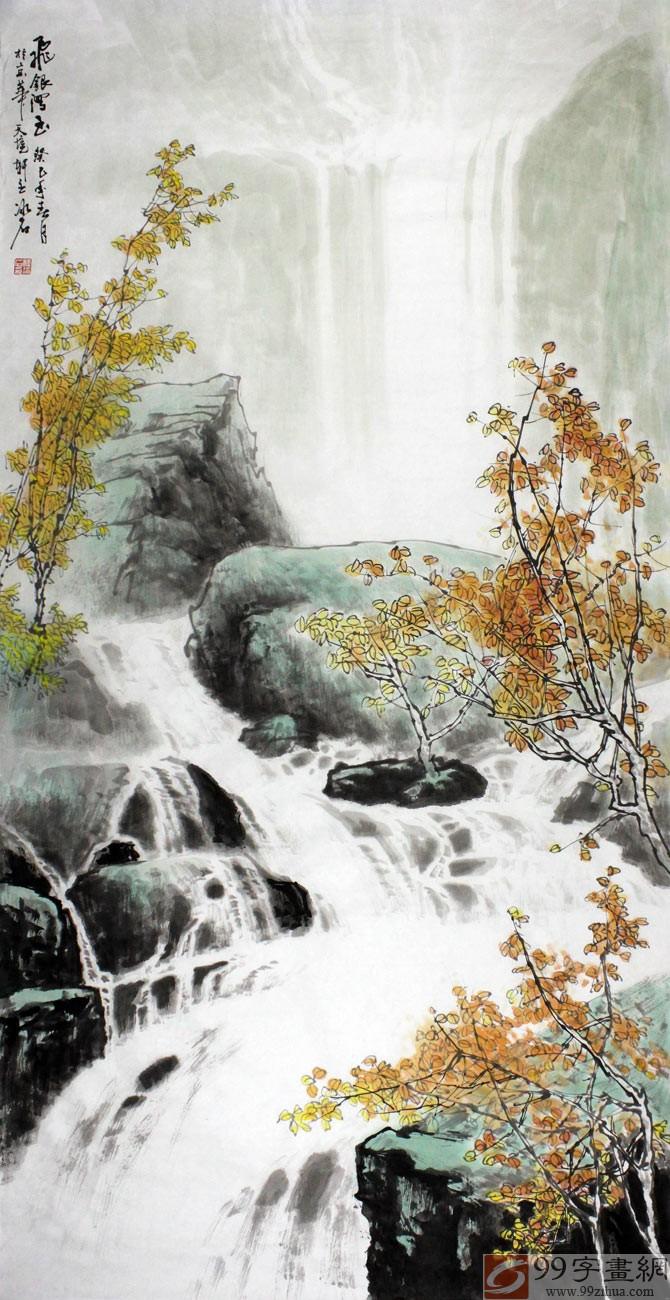 """生活无处不艺术,格调高雅的山水画作,它们极大地丰富了我们的家居生活,也愉悦着大众的身心,我们在享受自然美景的同时,深感艺术家的灵感和艺术的魅力。像99字画网上商城山水画家程冰石绘制的这幅《飞银泻玉》,画面唯美,气势恢弘。一座座陡峭的山峰,一块块突兀的怪石隐隐约约藏于薄雾之下。山上,几株摇曳的树木,依山而建,造就了一种""""飞瀑深处寄清凉""""的凉爽感觉。如此精美的一幅画作,在带给我们美的同时,也传递着画家别出心裁的创作才情,一笔一画,惊艳四方。 程冰石简介: 程冰石,祖籍山东曲阜,现居北"""