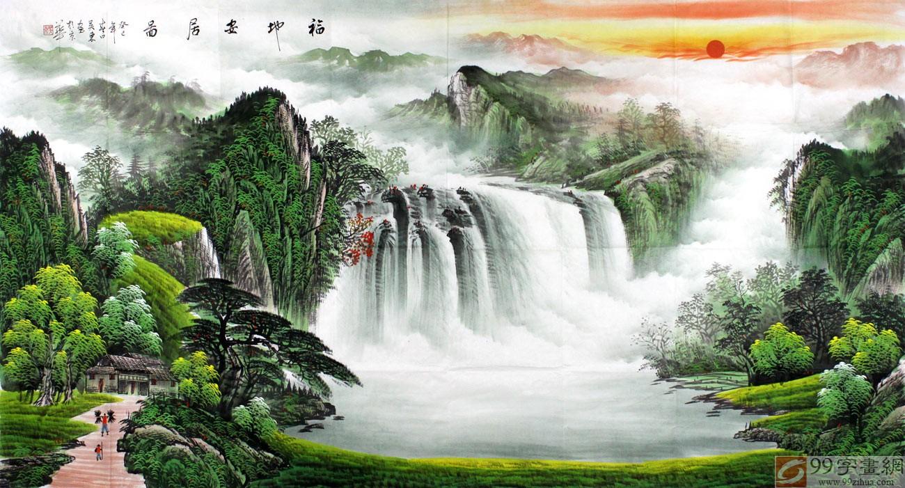 吴东风景聚财山水画福地安居图 - 聚宝盆山水画 - 99