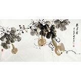 王宝钦 三尺葫芦《秋实图》当代花鸟牡丹画名家(询价)