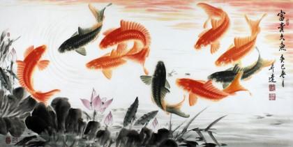 名家周升达四尺国画九鱼图《富贵久鱼》