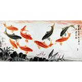 【已售】中国画院画家周升达四尺九鱼图《富贵久鱼》
