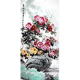 王宝钦 大尺寸作品《春风送富贵》当代花鸟牡丹画名家(询价)