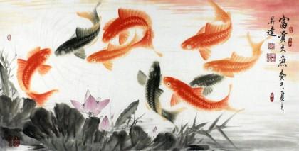 东方鱼圣周升达三尺九鱼图《富贵九鱼》