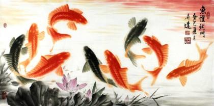 中国画院周升达三尺锦鲤图《鱼跃龙门》