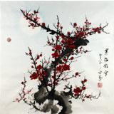 安徽美协何华贤三尺斗方国画梅花《寒梅傲雪》