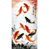 【已售定制询价】画鱼名家周升达四尺国画九鱼图《鱼跃龙门》