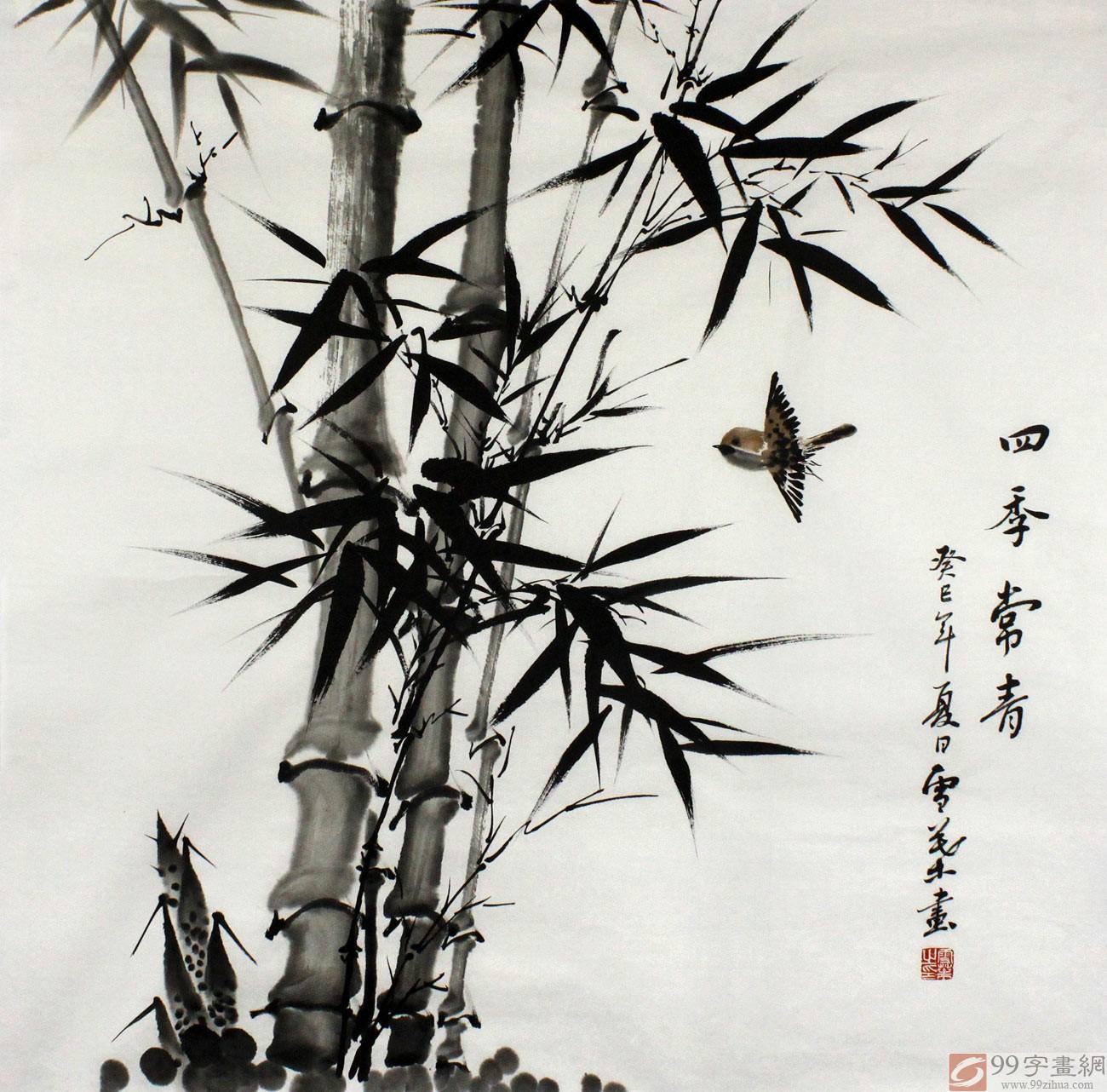 何华贤先生的水墨写意竹子图,竹叶墨色浓淡相宜,寥寥数笔将竹叶勾勒成