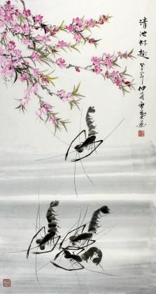 安徽美协何华贤三尺桃花墨虾图《清池虾趣》