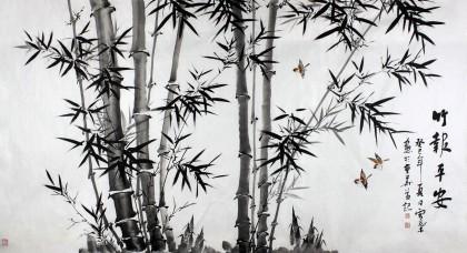 安徽美协何华贤六尺国画竹子《竹报平安》