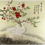 北京美协凌雪四尺斗方桃花图《繁荣和平》