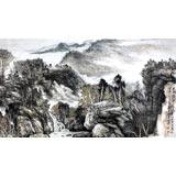 著名山水名家郑庆年六尺山水《云抱孤村远山通一径斜》