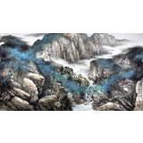名家郑庆年六尺山水画作品《淡烟流水画屏幽》