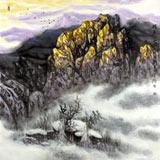 中美协赵金鸰太行雪村系列四尺斗方《醒来的山莊》(询价)