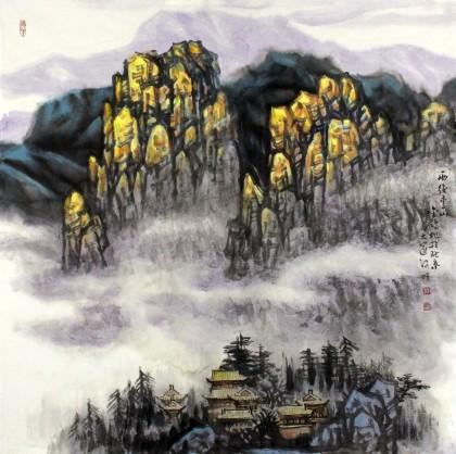 名家赵金鸰太行雪村系列四尺斗方 雨后雪山 写意山水画 99