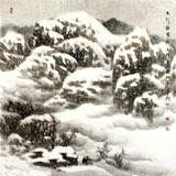 中美协赵金鸰太行雪村系列四尺斗方《太行银装》(询价)