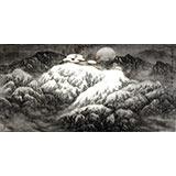 水墨名家赵金鸰太行雪村系列四尺山水画《元宵夜》(询价)