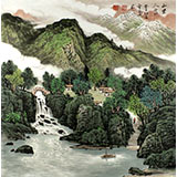 【已售】安徽美协雪叶四尺斗方田园山水《山里人家》