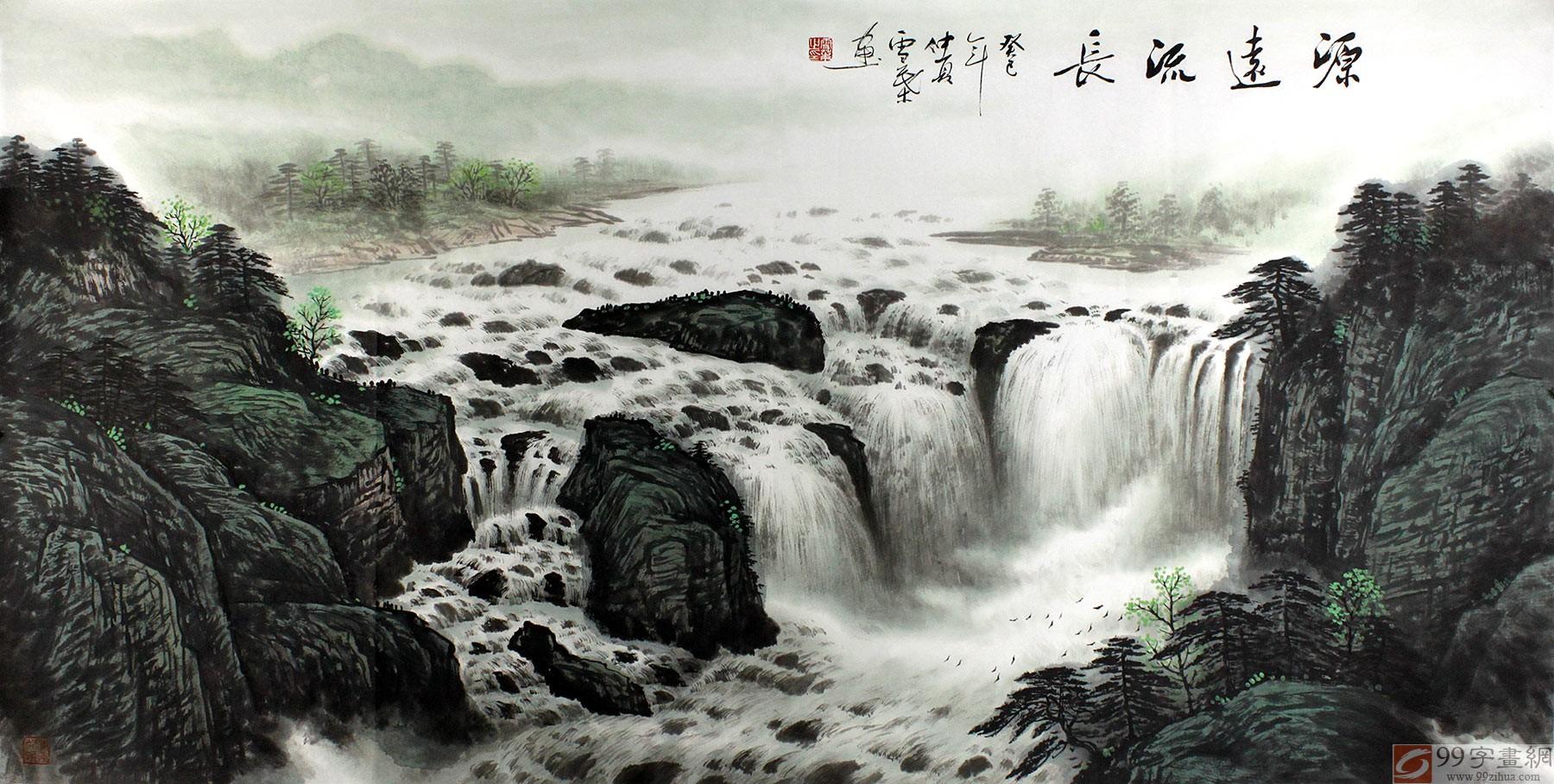 瀑布松树高山山水画