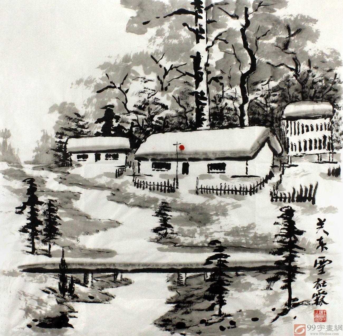 皑皑白雪覆盖着河流,拱桥,树木