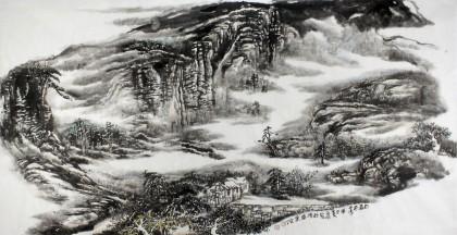 赵亚明四尺山水画《日暮苍山远》