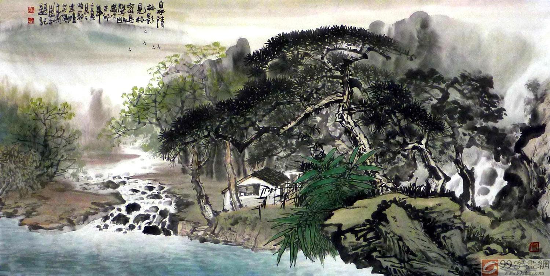 广西大学美景_黄云鸿山水画作品 - 写意山水画 - 99字画网