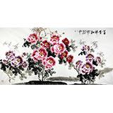 【已售】王宝钦六尺精品国画牡丹画《富贵祥和》(询价)