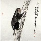 王向阳四尺斗方动物画《步步高升》(询价)