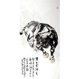 【已售】王向阳四尺水墨写意风水牛《牛气冲天》(询价)