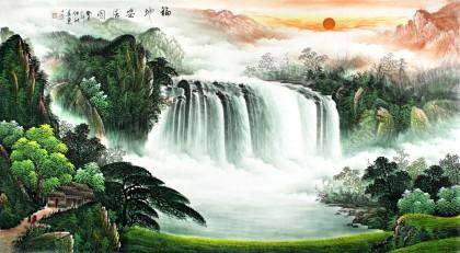 【已售】吴东六尺客厅招财聚宝盆山水《福地安居图》