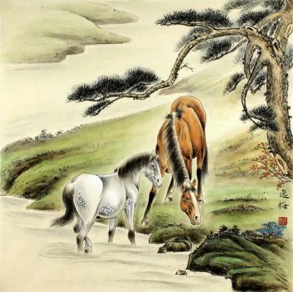 【已售】著名工笔画家赵逸梅四尺斗方河边双骏图