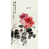 【已售】李胜春三尺国画蜂戏牡丹《国色迎富贵》
