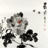 李胜春三尺斗方水墨牡丹图《素艳》