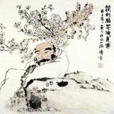 【已售】李胜春三尺斗方罗汉《情到梅花便是仙》