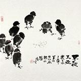 【已售】李胜春三尺斗方国画群鸡图《不破不立》