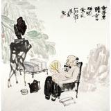 李胜春四尺斗方人物画《无事多读书》