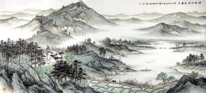 名家刘金河小六尺江南风景画《四月江南莺草长》