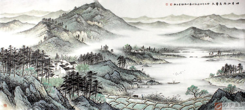 江南秀丽风景画《四月江南莺草长》 - 写意山水画图片