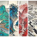 【可定制】名家刘金河四条屏山水画《春夏秋冬》