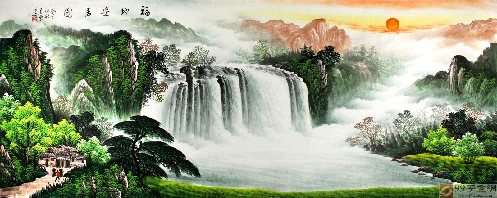【已售】吴东小六尺风景山水画《福地安居图》