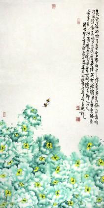 曲逸之 四尺花开富贵牡丹画 河南省著名花鸟画家图片