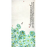 曲逸之 四尺花开富贵牡丹画 河南省著名花鸟画家