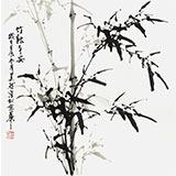 【已售】章昊然四尺斗方竹子国画《竹报平安》