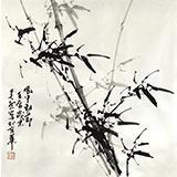 【已售】章昊然四尺斗方竹子画《风中劲节》