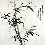 【已售】章昊然四尺斗方书房竹子画《风中劲节》