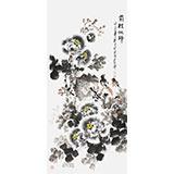 【已售】王宝钦 四尺墨牡丹《前程似锦》当代花鸟牡丹画名家(询价)